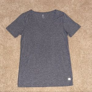 GAPFIT BREATHE HEATHER GRAY V NECK SHIRT NEW S